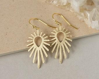 Gold Sun Dangle Earrings, Brass Celestial Jewelry, Large Art Deco Earrings, Modern Brass Jewelry, Gift for Women, Boho Style Jewelry