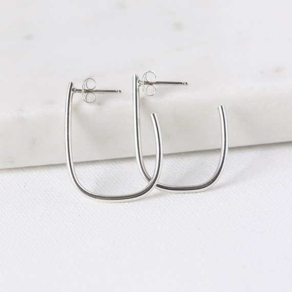 Sterling Silver Oval Hoop Earrings Minimalist Everyday Hoops  207d3a1c0e