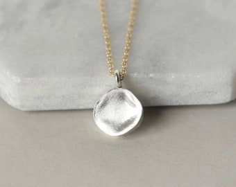 Long Sterling Silver Geometric Necklace, Mixed Metal Layering Necklace, Round Pendant, Everyday Coin Necklace, Gift for Women,