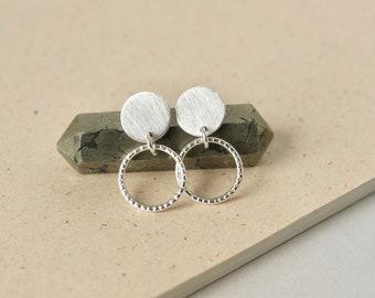 Sterling Silver Geometric Stud Earrings, Brushed Circle Studs, Modern Minimalist Jewelry, Everyday Dangle Earrings, Gift for Women