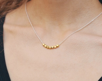 Faceted Gold Bead Necklace, Simple Layering Necklace, Minimalist Gold Necklace, Mixed Metal Jewelry, Gift for Her, Gold Vermeil Nuggets