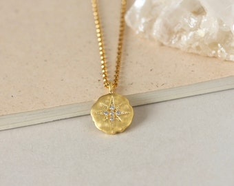 Gold Vermeil Polaris Star Necklace, Minimalist Charm Necklace, Gold Coin Layering Necklace, Geometric Celestial Jewelry, Gift for Women