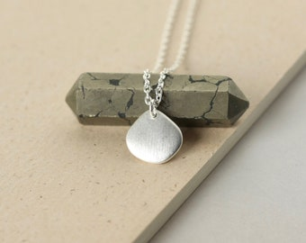 Sterling Silver Charm Necklace, Simple Everyday Jewelry, Minimalist Layering Necklace, Brushed Silver Petal Charm, Gift for Women