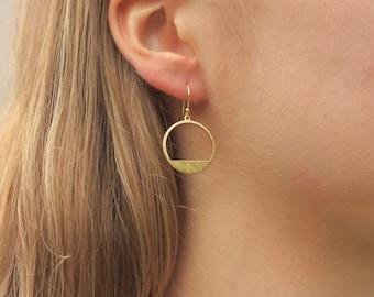 Brass Geometric Earrings, Modern Brass Jewelry, Gift for Women, Gold Minimalist Jewelry, Shiny Brass Circle Earrings
