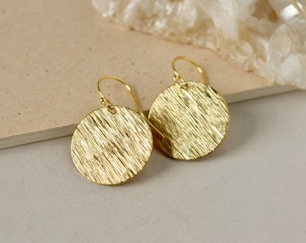 Big Shiny Round Gold Earrings, Brass Disc Earrings, Modern Geometric Jewelry, Minimalist Holiday Jewelry, Gift for Women, Gold Accessories