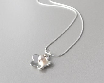 Fine Silver Flower Necklace, Silver Flower Pendant Necklace, Silver and Pearl Necklace, Simple Silver Necklace, Artisan Metal Work Jewelry