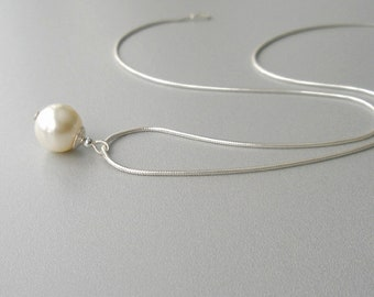Ivory Pearl Necklace, Pearl and Sterling Silver Necklace, Simple Necklace, Large Pearl Necklace, Modern Jewelry, Cream Pearl, Swarovski
