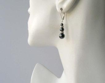 Black Pearl Earrings, Pearl and Crystal Drop Earrings, Black Jewelry, Pearl Dangle Earrings, Bridesmaid Jewelry, Bridesmaid Gift, Swarovski