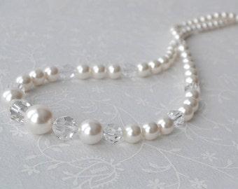 Pearl and Crystal Bridal Necklace, Long Pearl Strand Necklace, Wedding Jewelry, OOAK Bridal Necklace, Handmade Bridal Jewelry, Buffalo NY