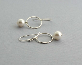Silver and Pearl Earrings, Sterling Hoop Earrings, Modern Earrings, Dangle Earrings, Sterling Silver Jewelry, Casual Jewelry, Gift idea