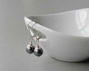 Grey Pearl Drop Earrings, Pearl and Silver Earrings, Simple Earrings, Sterling Leverback Earrings, Gray Pearl Jewelry, Handmade Jewelry