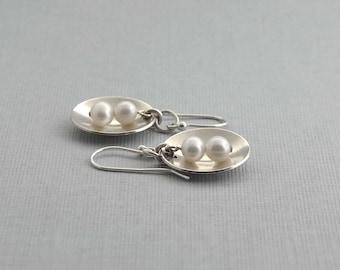 Silver Earrings, Pearl and Silver Earrings, Sterling Silver Dangle Earrings, Silver Artisan Jewelry, Pearl Jewelry, Modern Jewelry, Gift