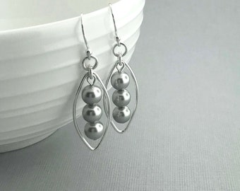 Gray Pearl Earrings, Pearl and Sterling  Earrings, Pearl Dangle Earrings, Swarovski Pearl, Grey Pearl Jewelry, Sterling Silver Jewelry, Gift