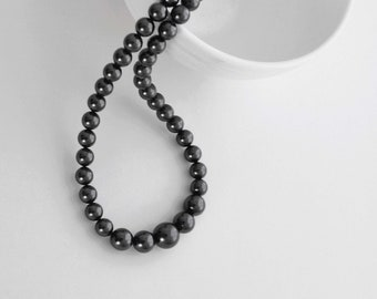 Black Pearl Necklace, Large Pearl Necklace, Pearl Strand Necklace, Graduated Pearl Necklace, Black Jewelry, Gift Idea, Fashion Accessary