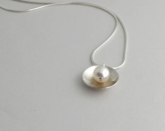 Silver Necklace, Hammered Silver Necklace, Silver and Pearl Necklace, Sterling Necklace, Modern Jewelry, Silver Pendant Necklace, Handmade