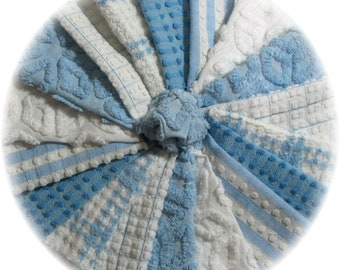 Vintage Chenille Bedspread Quilt Charm Square Kit, Baby Boy Blue, 18 Chenille 6 inch squares, Baby Quilt, Soft Baby Blues Free US Ship