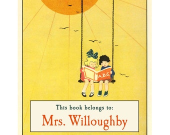 Personalized Bookplates - The Reading Swing - Adorable Vintage Book Labels, Teacher Gift, New Reader