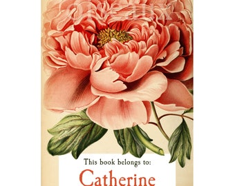 Vintage Peony Personalized Bookplates - Custom Book Plates, Stunning Mother's Day, Birthday, Ex Libris, Book Labels