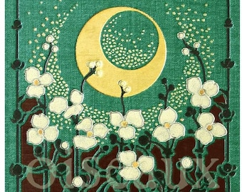 Moon Garden Personalized Bookplates - Bestseller - Vintage Book Plates - Ex Libris, Mother's Day Art Deco Library Labels