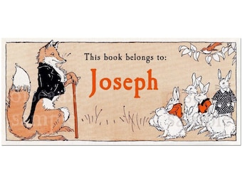 Mr. Fancy Fox Bookplates - Personalized Vintage Book Labels - Unique Children's Gift, Heritage Book Plates, Ex Libris
