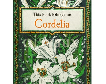 Lily Garden Personalized Bookplates - Vintage Book Plates - Ex Libris, Mother's Day Art Deco, Library Labels