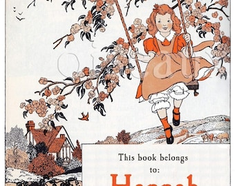 Vintage Swing Bookplates - Personalized Book Labels - Girl's Library, Ex Libris, Autumn, Custom Beautiful Book Plates