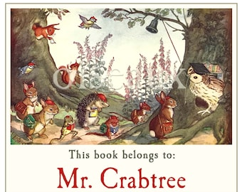 School Time Bookplates -  Personalized Book Labels - Adorable Custom Teacher Gift, Waldorf School, Heritage Ex Libris to Treasure
