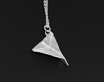 Silver paper airplane charm necklace - hand folded