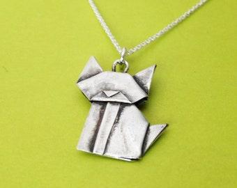 Hand Folded Silver Origami Cat Mini Pendant