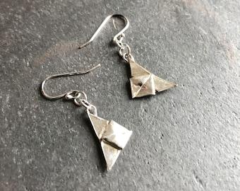 Silver origami butterfly earrings, hand folded