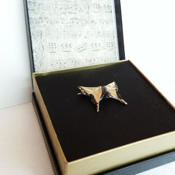 Silver Origami Butterfly Brooch Tranquillo number eleven in Concerto Series OOAK