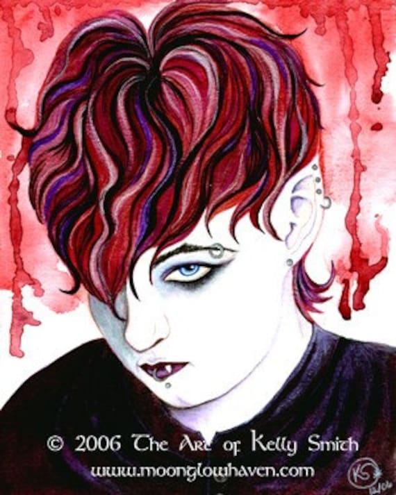 Dark Angel Horror Art, Vampire Print, Vampire Blood Macabre Art, Gay Art,  Emo Vampire Art, Fantasy Man, Sexy Male Punk Art, Handsome Men