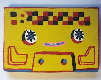Yellow Checkered Wood Tape Buddy