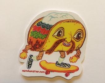 Taco skateboarding stickers