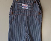 vintage health-tex blue and white striped overalls- apx. 9-12m
