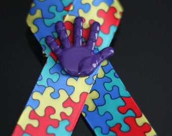 Autism Awareness Ribbon with Purple Hand