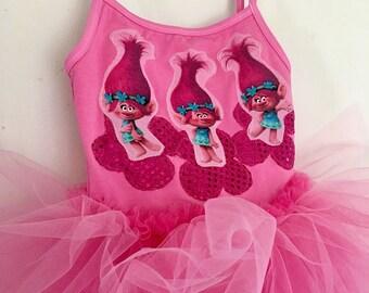 Poppy Tutu- Poppy Dress - Poppy Trolls Birthday - Trolls Birthday - Poppy Birthday