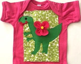 Baby Girl Dinosaur Romper-Baby Girl Dinosaur Bodysuit-Girls Dinosaur Birthday Outfit-Dinosaur Baby Shower Gift-First Birthday Dinosaur Theme