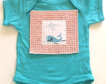 Baby Whale Romper-Whale Baby Girl Gift-Baby Girl Whale Shower Gift-Toddler Girl  Whale Outfit-Under The Sea Girl Baby Gift-Whale Bodysuit