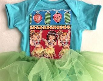 Baby Girl Hawaiian Outfit-Hawaiian Themed Baby Shower Gift-Girls Hula Dress-Baby Hawaiian Tutu-Girls Hawaiian Dress-Hawaiian First Birthday