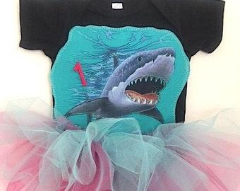 Shark Romper Tutu-Infant Shark Dress-Toddler Shark Outfit- Shark Birthday Dress-Shark Tutu-First Birthday Shark Outfit-Shark Theme Birthday