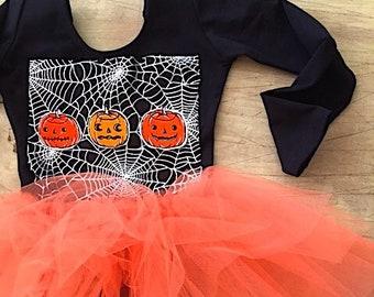 Pumpkin and Spiderweb Halloween Leotard Tutu-Toddler Halloween Costume- Girls Pumpkin Halloween Costume-Girls Spiderweb Halloween Costume