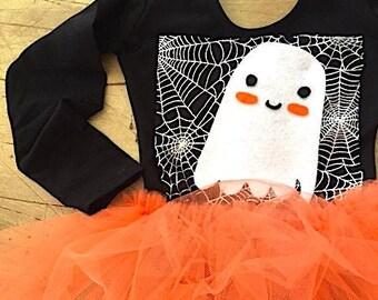 Friendly Ghost and Spiderweb Halloween Leotard Tutu Dress-Toddler Ghost Costume-Spiderweb Halloween Costume