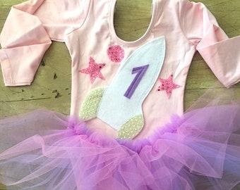 Long Sleeve Pastel Spaceship Birthday Dress-Girls Astronaut Birthday Outfit-Spaceship Leotard Tutu Dress-First Birthday Spaceship Dress