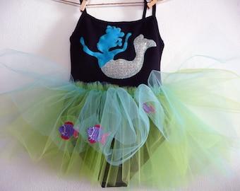 Girls Mermaid Dress, Toddler  Mermaid Leotard Tutu, Mermaid Costume, Under the Sea Birthday Dress