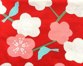 Japanese Fabric - Cotton Fabric -  1 Yard - Red Fabric -  Plum Blossoms Fabric - Bird Fabric - 110 cm x 100 cm (F55-P2)