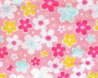 Japanese Tenugui Cotton Gauze Fabric  Flowers  87 x 35 cm Cherry Blossoms Pink T2