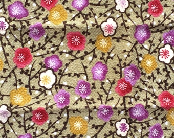 Japanese Fabric- Japanese Chirimen Fabric- Traditional Japanese - Green And Beige Fabric - Plum  Blossom Fabric    (F105 -P30) SMALL SIZE