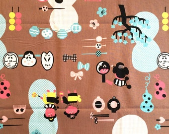 Japanese Fabric  Brown Fabric  1 Yard  100% Cotton  110 x 100 cm With Geisha Hairpins Lanters Plum Blossoms And More  (F91-P31)