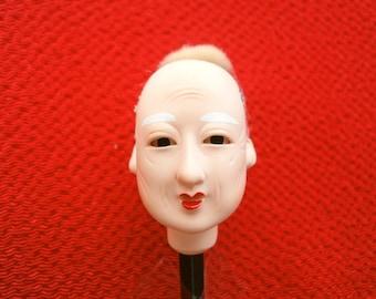 Japanese Doll Head Hina Matsuri Man  Body Part  - Old Man - Body Part - #A Small Size